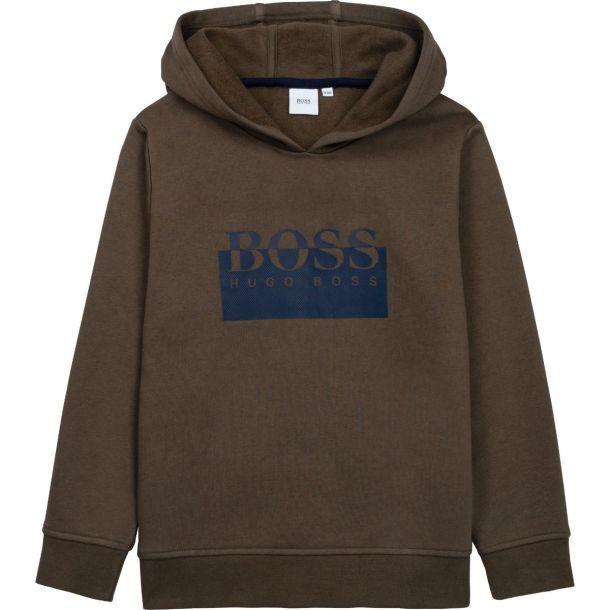 Boys Khaki Logo Hoodie