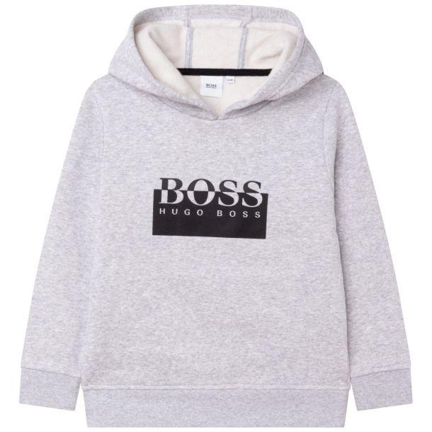 Boys Grey Logo Hoodie