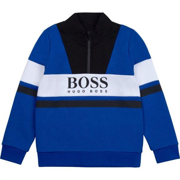 Boys Blue Half Zip Logo Sweat