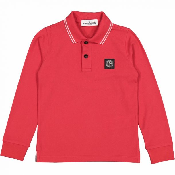 Boys Red Branded Polo Top