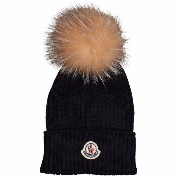 Navy Fur Pom Pom Hat