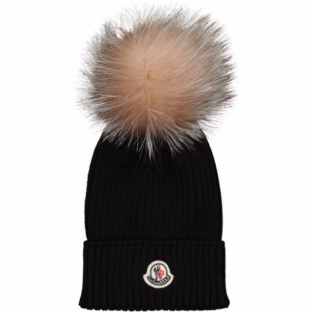 Black Fur Pom Pom Hat