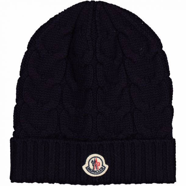 Navy Ribbed Logo Beanie Hat