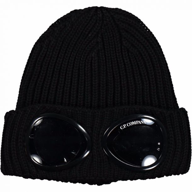 Boys Black Goggle Beanie Hat