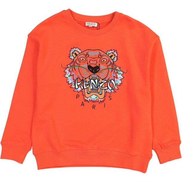 Boys Orange Tiger Logo Sweat