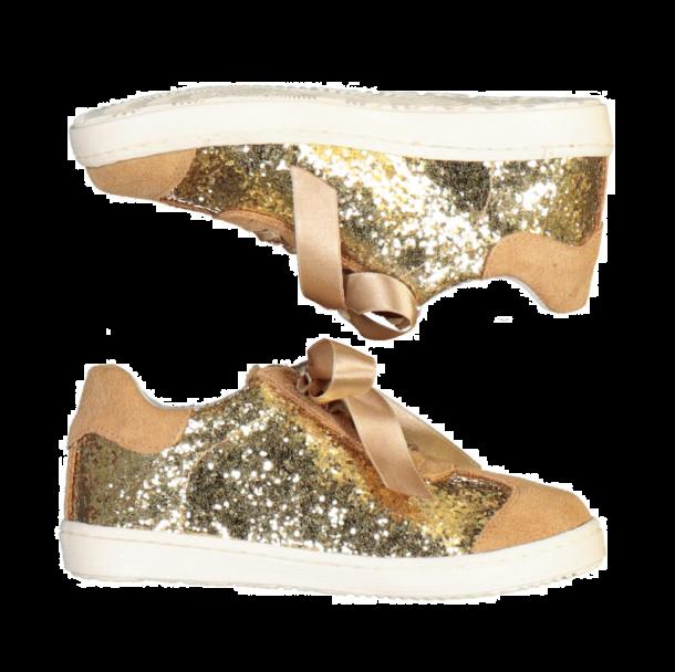 Girls Beige Glitter Sneaker