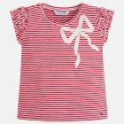 Girls Red Stripe Bow T-shirt